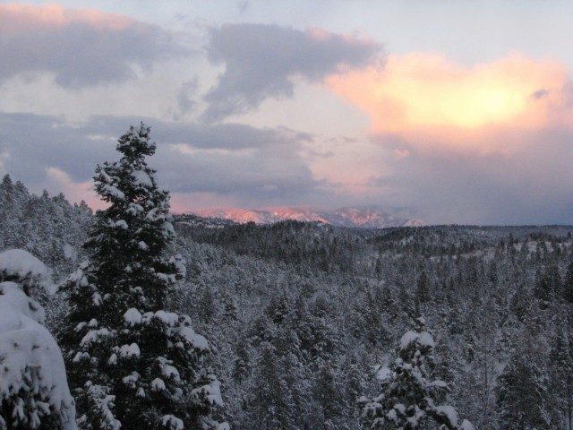 Snow, clouds, & sunglow