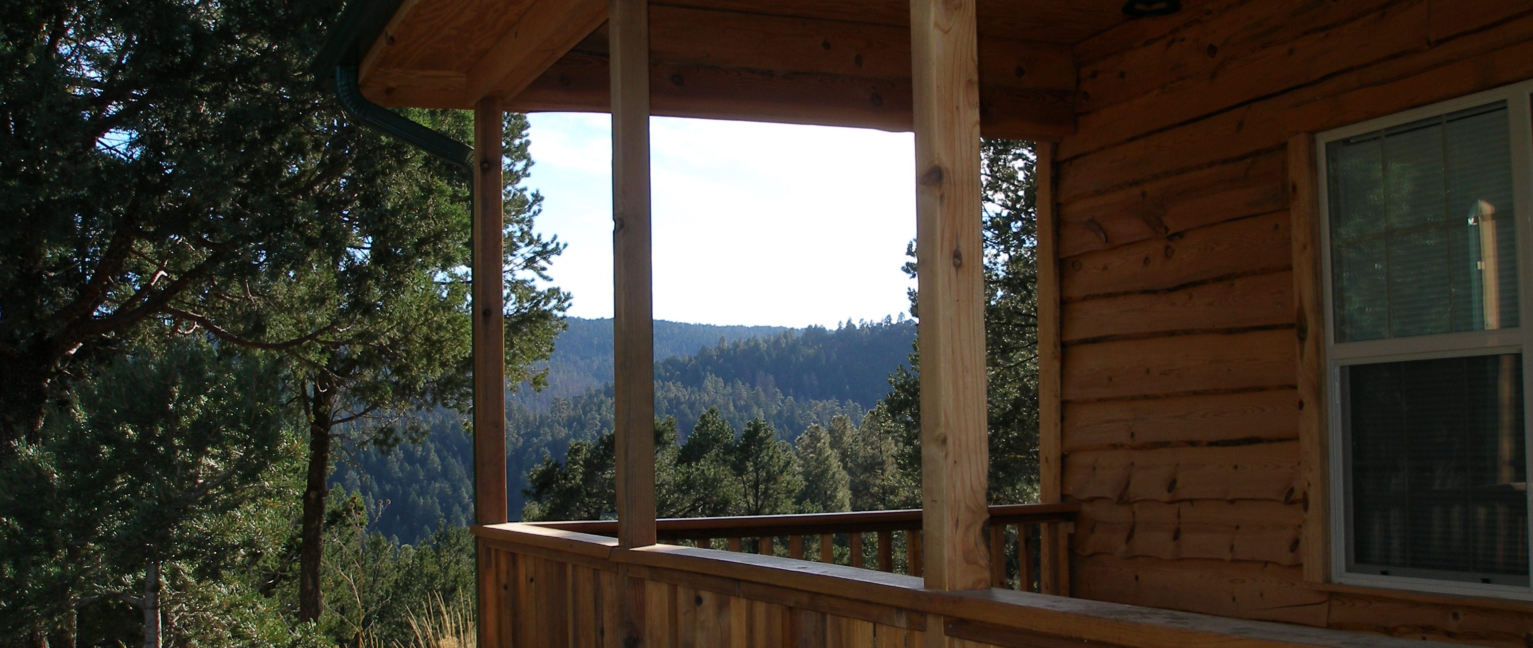 View off front deck of Twin Mountain Cabin, Upper Canyon, Ruidoso